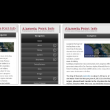 Responsive design for all devices. Middle view has navbar expanded.