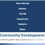 Mobile view of Alameda's Community Development page.